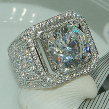 USTAR Luxury Men Rings for wedding Shiny Cubic Zirconia crystals Silver engagement finger ring female unisex women jewelry anel