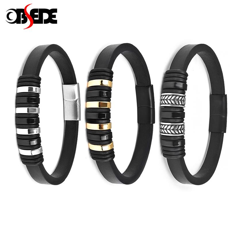 Man Leather Wristband Bracelet Stainless Steel Magnetic Clasp