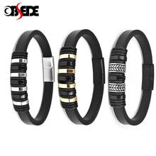 Fashion Men Leather Bracelet Stainless Steel Magnetic Clasp Punk Bangle Male Jewelry Handmade Charm Wristband 18.5/20.5/22 cm