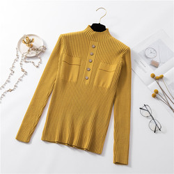 Womens Sweaters 2019 New Fashion Button Turtleneck Sweater Women Soft Knitted Ladies Sweater Winter Tops Pullover Jumpers Ladies 5