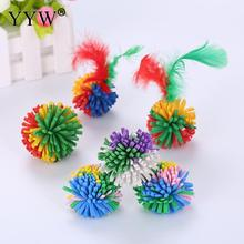 Pet Soft Ball Funny Cat Toys EVA Flower Ball Rolling Scratching With Feather Pet Cat Dog Toys Diameter Random Color Pet Supplies