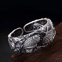 925 Sterling Silver Carved Carp Lady Bracelet Embossed Three dimensional Pisces Lotus Opening Wide Face Bracelet Jewelry