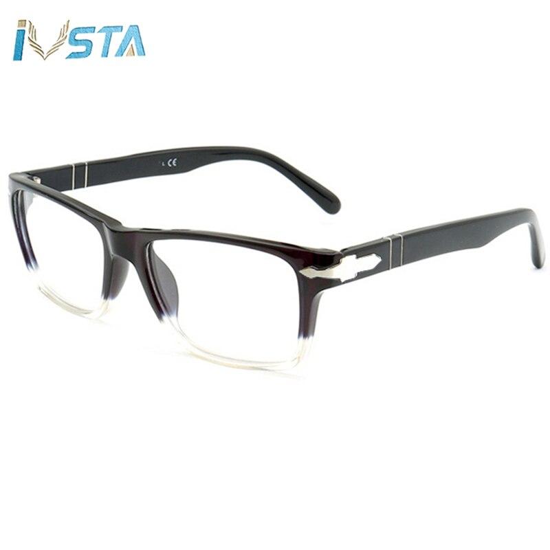 IVSTA With PE Logo Acetate Glasses Men Myopia Prescription Nerd Computer Anti Blue Light Italy Brand Designer Luxury 3060-V 9028