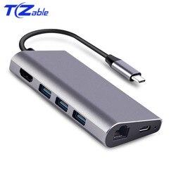 USB-C do HDMI/czytnik kart/RJ45/USB 3.0 Adapter USB C stacja dokująca dla MacBook akcesoria pro USB-C typu C 3.1 Splitter 3 Port USB C HUB