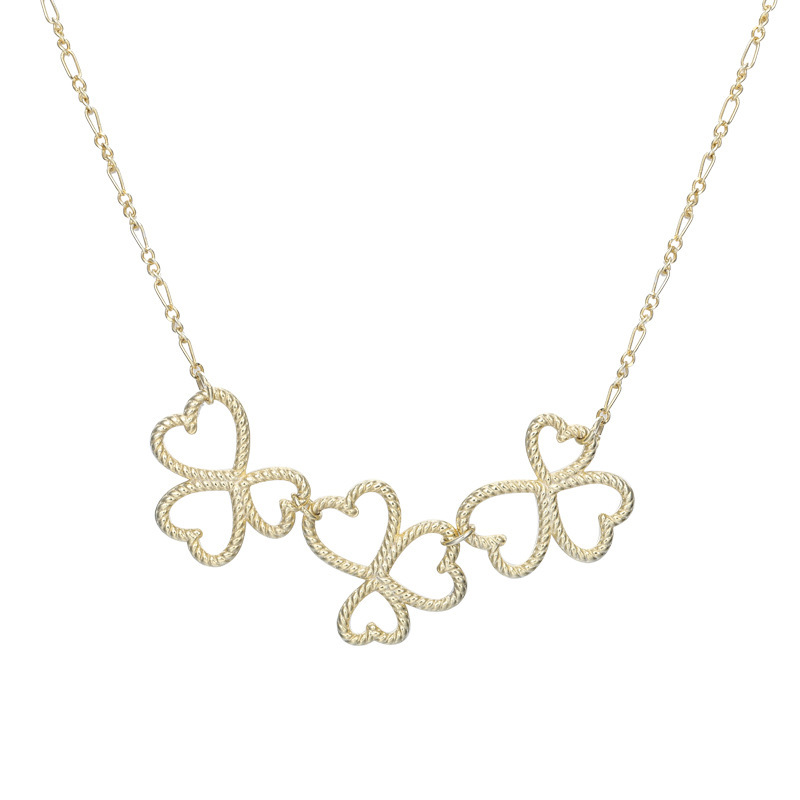 Clover Weave Necklaces Pendants 925 Sterling Silver Heart Gold Chain Bohemian Couple Collar Largo For Women Accessories Joyas in Necklaces from Jewelry Accessories