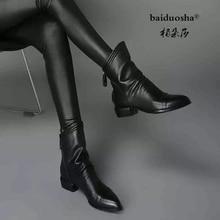 Frauen winter 2019 herbst neue spitzen verstauchung schwarz künstliche leder frauen stiefel zurück zipper falten große größe 43 ankle stiefel