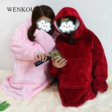 Women Oversized Hoodie Blanket Sweatshirt Coral Fleece Blanket Warm Winter Coat Ladies Giant Hoody Pullovers Sudadera Mujer 2020