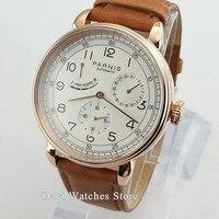 Neue Kommen Poliert Vintage Herren Uhr 42mm Parnis Weiß Dila Gold Fall Sea-gull Automatische Bewegung Herren Uhr