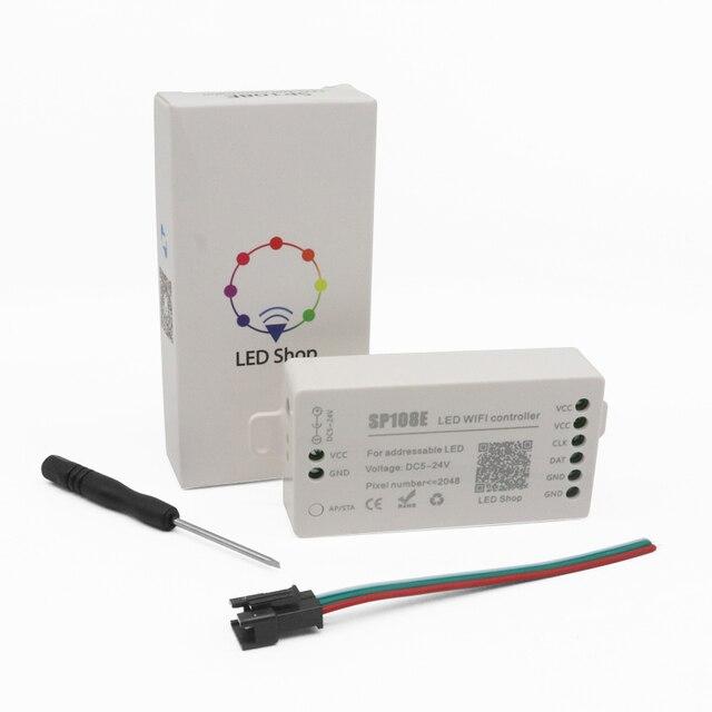 SP108E WS2812B WS2811 WS2801 LED WiFi Controller, iOS Android App Wireless Remote Control DC5V~24V SP108E for SK6812 SK6812 RGBW