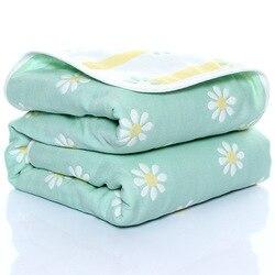 Детское Хлопковое одеяло 110*110 см, 6-слойное газовое детское банное полотенце, тонкое стеганое одеяло для новорожденных, детское летнее одеял...