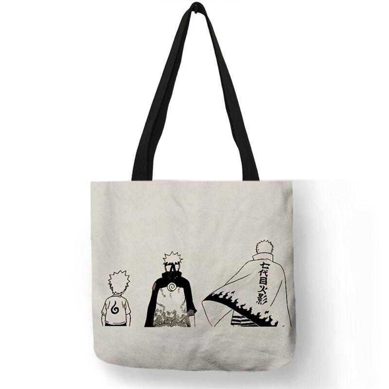 B06125 Casual Tote Unisex Japanese Anime Naruto Sasuke  Kakashi Print Bags Women Handbag Reusable Shopping Shoulder Bags