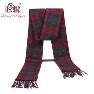 Image 2 - Кашемировый мужской шарф, зимний тёплый платок, клетчатые шарфы, модные повседневные шерстяные шарфы, Мужская Толстая шаль Sjaal, 2020