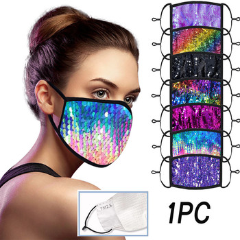 Lot 2pc Comfortable Maske Bling Sequin Washable Mascararilla Reusable Dust-proof Face Maks Windbreak Seamless Mouth Maak Daily