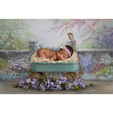 Newborn Baby Portrait Photography Backdrop Photo Shoot Flowers Oil Painting Birthday Photo Background Floral Abstract Backdrops pastel pink color princess baby girl photo shoot background printed flowers newborn photography props kids portrait backdrops