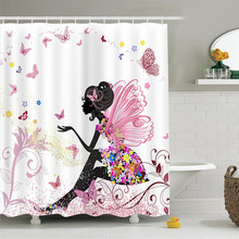 Sholisa  Polyester waterproof thick Printing Butterfly Pink Bathroom Shower Curtain Wholesale 1.8m To Custom Seaview Series