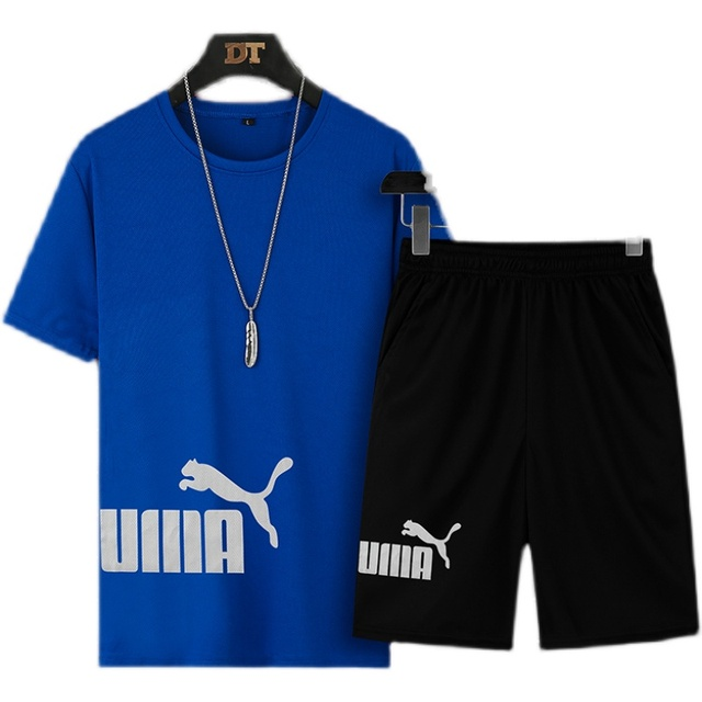 2021 Summer Men's T-shirt Set 2-piece Men's Sportswear Suit Basketball Sports Fitness  Printed Short Sleeve + Men's Suit 5