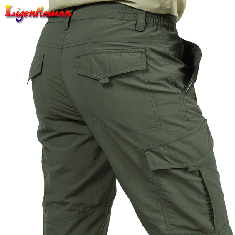 New Male Lightweight Trousers Men Trousers Summer Quick Dry Casual Pants Army Waterproof Trousers Men's Tactical Cargo Pants