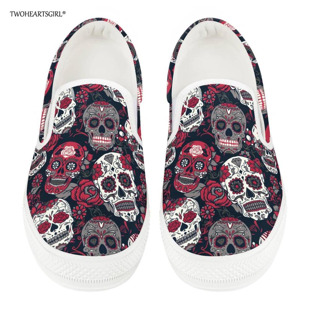 Twoheartsgirl Sugar Skull Print Women Vulcanize Shoes Comfortable Female Spring Autumn Canvas Shoes Classic Flat Sneakers Plus