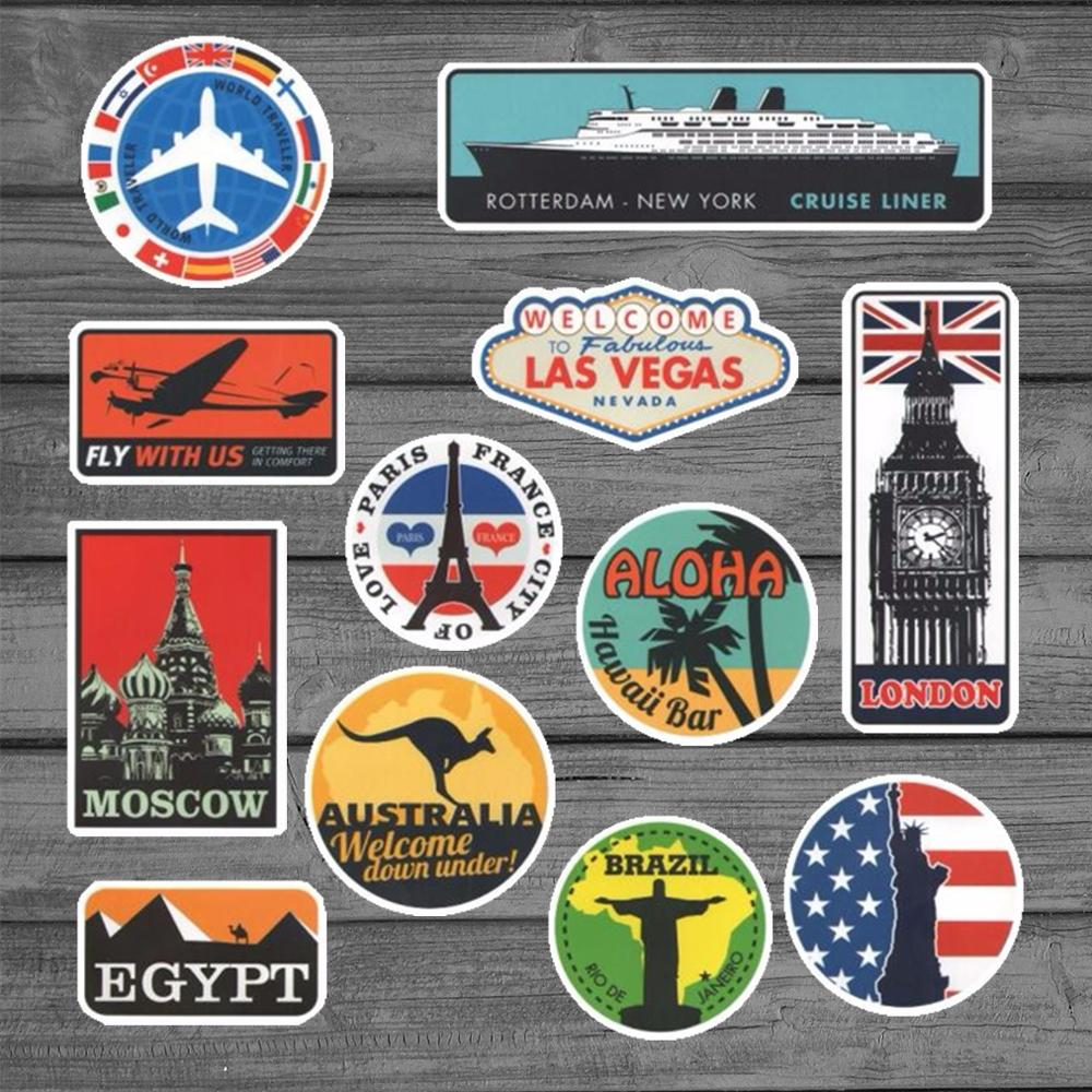 Retro Style Travel Hotel Stickers For Laptop Suitcase Luggage Bike Skateboard Car Styling Phone Vinyl Decals DIY Sticker
