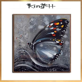100% pintado a mano, sin marco de mariposa negro de aceite pintura...