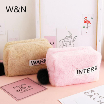 Solid Color Plush Pencil Case For Girls School Pencil Cases Big Pencilcase Kawaii Cosmetic Bag Tools School Supplies Stationery secret garden defence fall sketch color pencil cases for girls bag will capacity stationery case beautiful fine arts wj hd24
