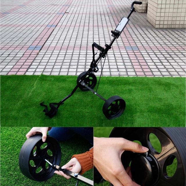 Golf Pull Cart Adjustable Golf Trolley Cart 2 Wheels Push Pull Golf Cart Aluminium Alloy Foldable Trolley With Brake 4