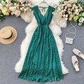 Bohemian Beach Dot Long Dress Women Elegant V-neck Lace up Backless Party Dress Sleeveless Ruffles High Waist Holiday dress 2020
