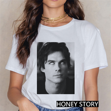 The Vampire Diaries Tshirt Summer Loose Tee Shirt Femme Harajuku Kawaii 90s Cool T-shirt Streetwear Girls Ulzzang Casual T Shirt