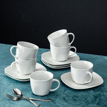 MALACASA serii Elisa kość słoniowa porcelana ceramiczna porcelany Drinkware filiżanka do herbaty kawy usługi zestaw z 6 sztuka filiżanki ze spodkami tanie i dobre opinie Kubki do kawy CN (pochodzenie) Barwiona ELISA-6CPS