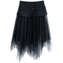 Summer Fashion Patchwork Gauze Skirts Women Temperament High Waist Faldas Mujer Moda Chic Asymmetrical Design Female Jupe