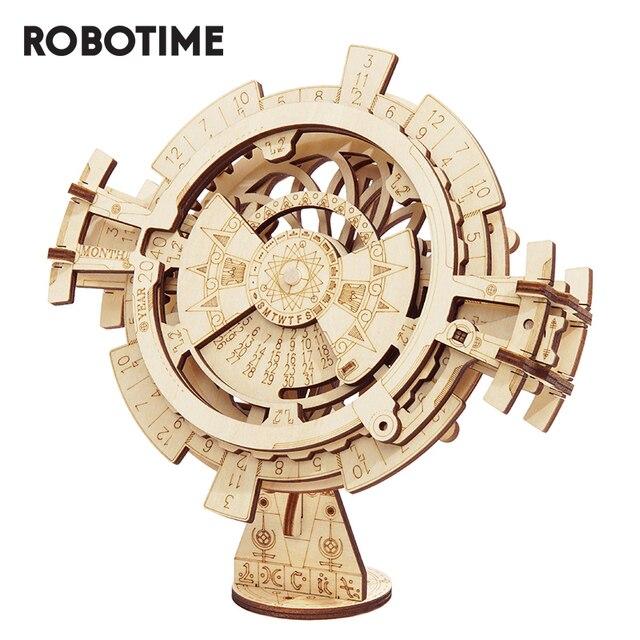 Robotime ROKR wieczny kalendarz 3D Puzzle drewniane zabawki montaż Model zestaw do budowania zabawki dla dzieci LK201 Drop Shipping