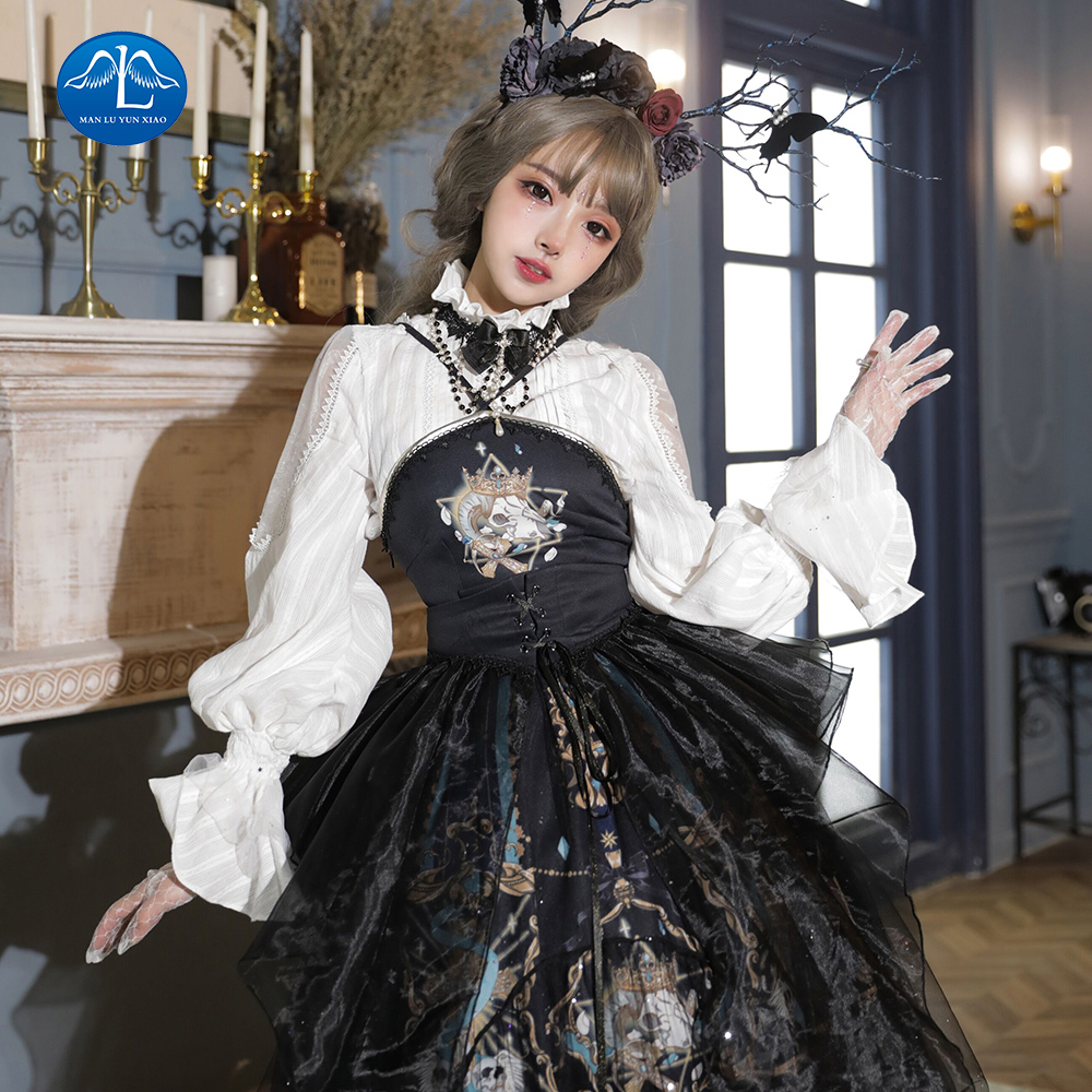 Gothic Lolita Dress Vintage Printing Lace Angel Lace Bowknot High Waist Victorian Dress Kawaii Girl Gothic Lolita Op Cos Loli