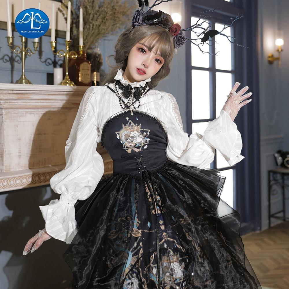 Women Retro Gothic Lolita Dress Vintage Inspired Women Outfits Cosplay Girl Black Bow Long Sleeve Cake Shirt Dress Plus Size
