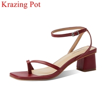 Krazing Pot full grain leather med heels summer gorgeous buckle straps concise British style office lady women sandals l17