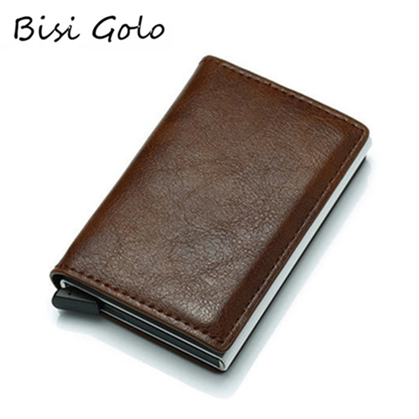 BISI GORO Antitheft Wallet Card Holder Hasp RFID Aluminum Unisex Metal High Quality Crazy Horse PU Leather