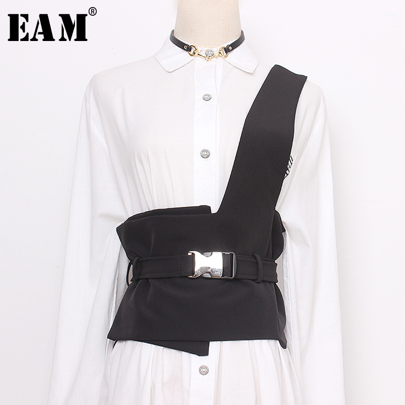 [EAM] Black Strapless Split Joint Buckle Wide Temperament Belt Personality Women New Fashion Tide All-match Spring 2020 1N949
