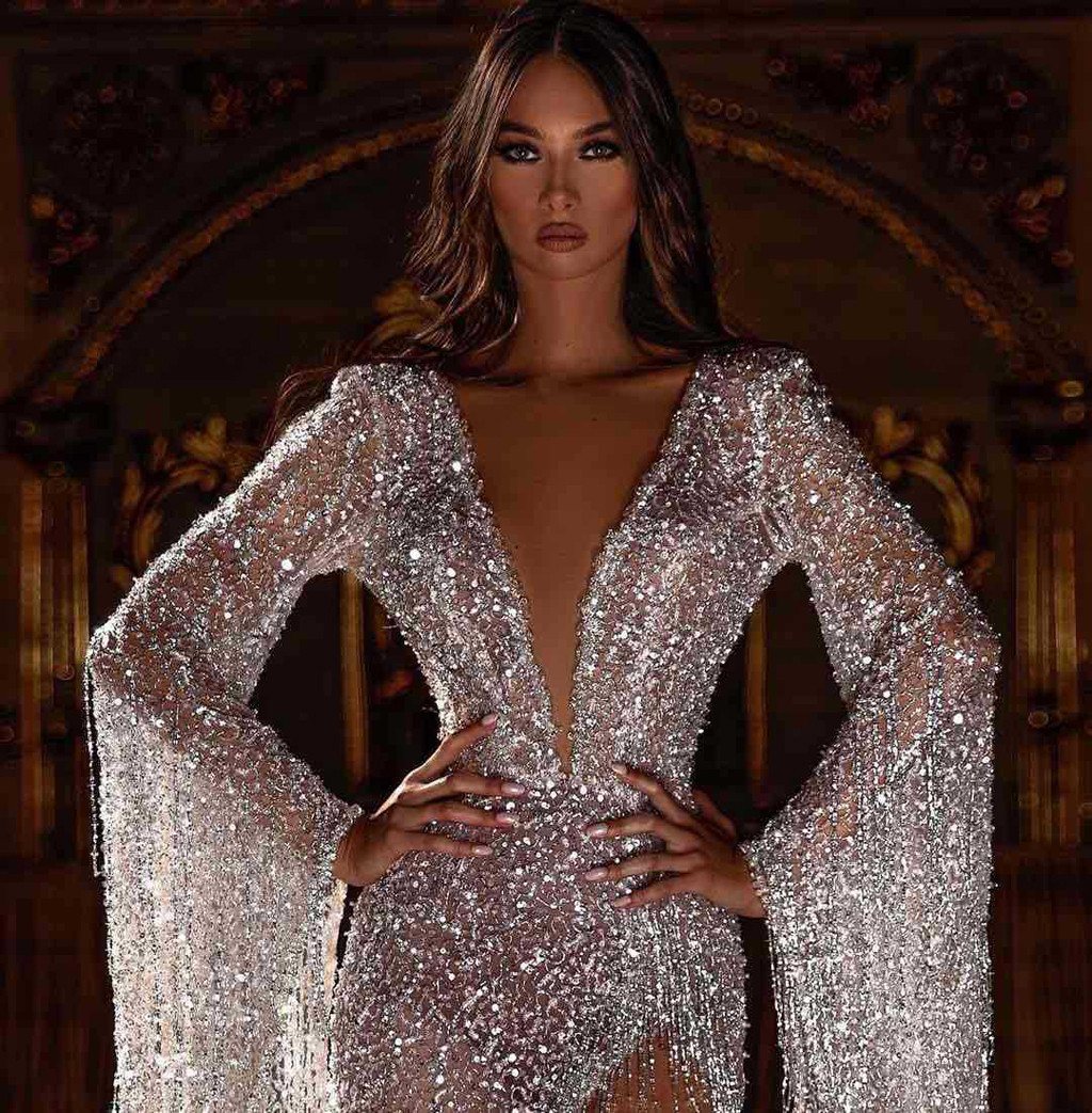 Women Deep V Neck Sequined Maxi Dress Women Sexy Pagoda Long Sleeve Tassels Skinny Dress Prom Gown Formal Evening Party Dress