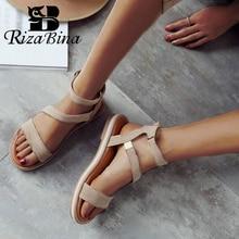 RIZABINA Size 34-43 Women Sandals Shoes Fashion Flat Heels S