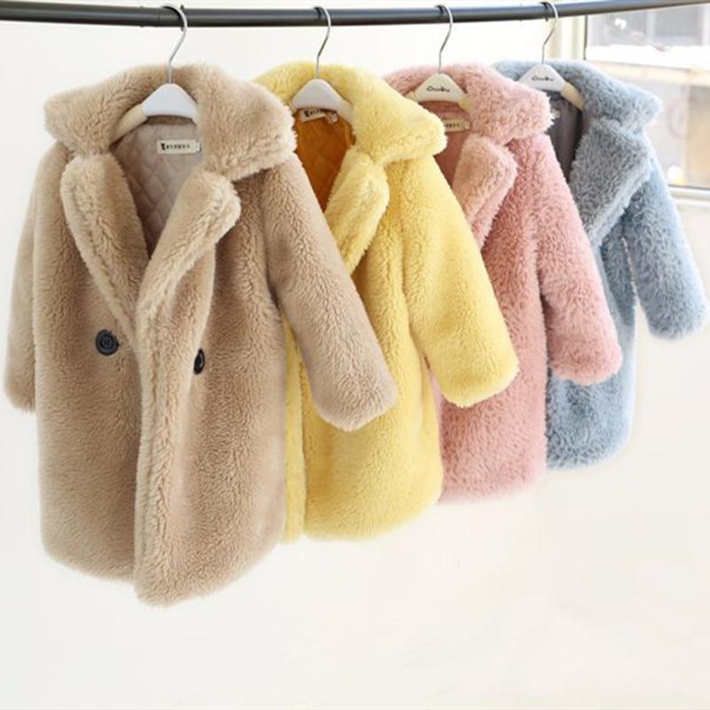 Winter Children Faux Fur Coat Baby turndown collar Thicken Warm Jacket Girls Long Overcoat Kids girls Casual Outwear 2-12 Years