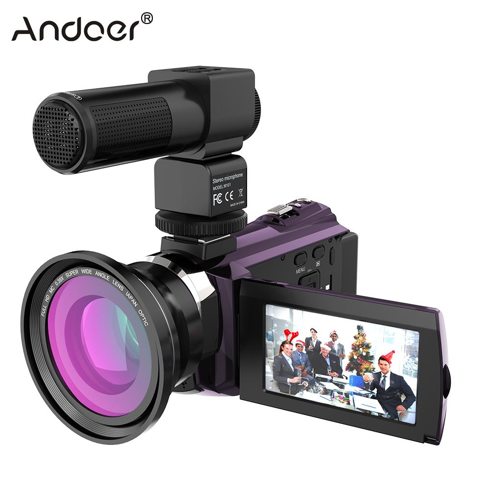 Andoer Camcorder-Recorder Camera 48MP Wifi Digital 1080P 4K with Macro-Lens Mic Touchscreen title=