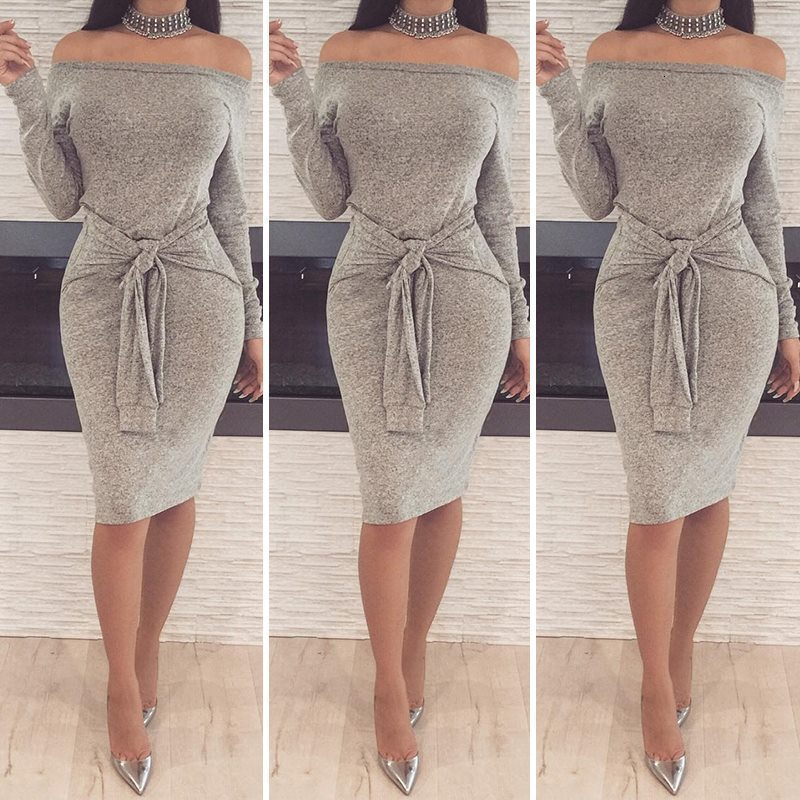 BGW Sexy Boat Neck Off Shoulder Full Sleeve Cocktail Dress With Sashes Women Simple Party Dress Vestido Noche Fiesta Corto