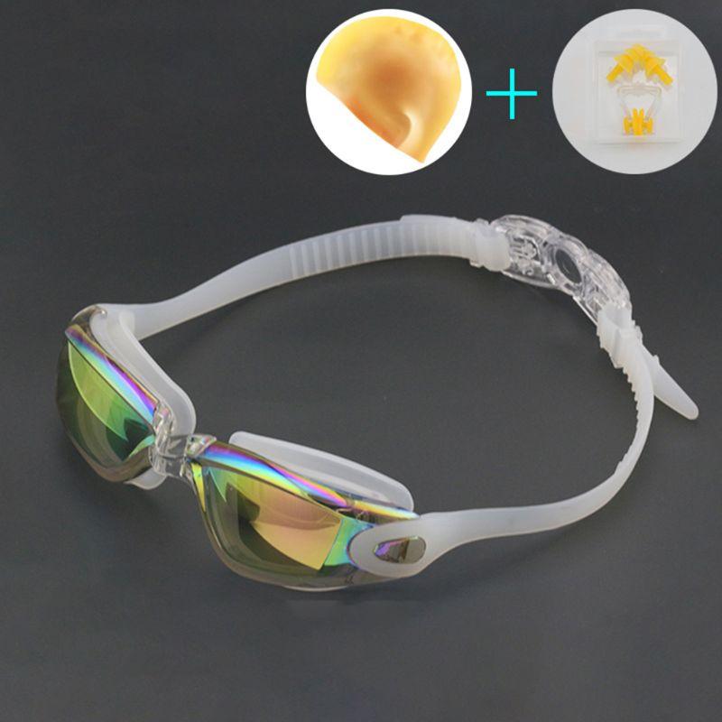Очки для плавания, колпачки для наушников, набор носовых зажимов, водонепроницаемые, противотуманные, устойчивые к ультрафиолетовому излучению, очки для плавания, регулируемая эластичная повязка на голову