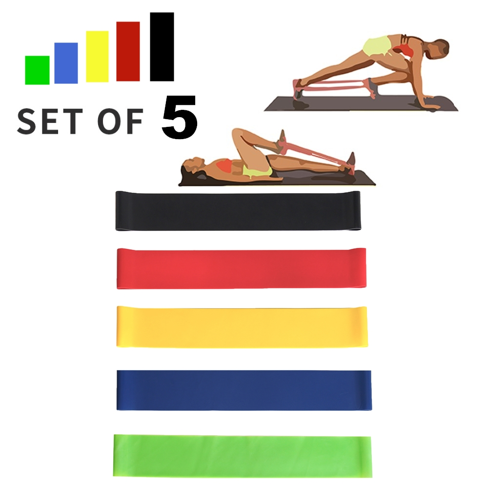 5 Pack Resistance Bands Set Nature Latex Exercise Elastic Band Fitess Yoga Loop Band For Home Gym Travel Training Workout