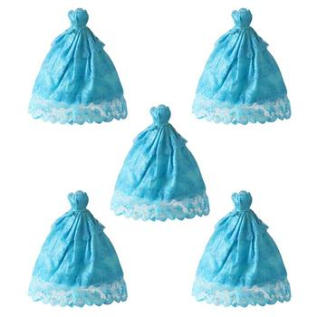 5Pcs Doll Wedding Dress Noble Party Gown Doll Accessories DIY Fashion Costume Matching Outfit for Girls (Mixed Style) nk one set original princess doll dress noble party gown for barbie doll fashion design outfit best gift for girl doll