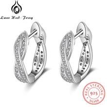 Классические настоящие 925 пробы серебряные серьги-кольца с кубическим цирконием, скрученные серьги для женщин, серебро 925, хорошее ювелирное изделие(Lam Hub Fong