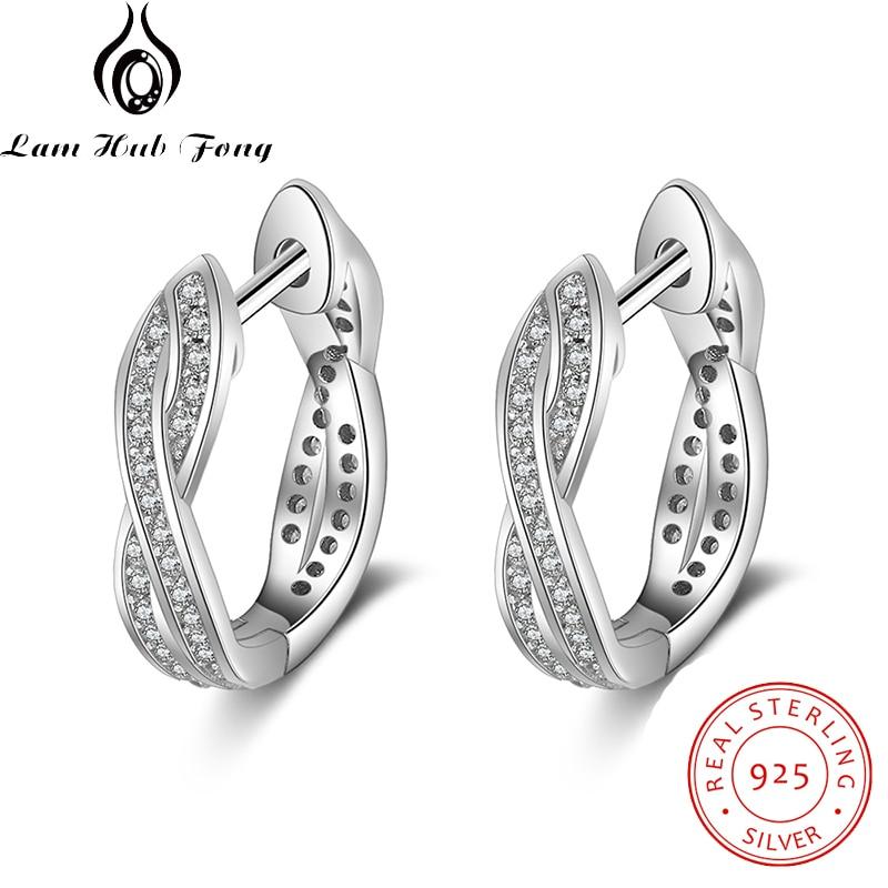 Classic Real 925 Sterling Silver Hoop Earrings Cubic Zirconia Twisted Earrings For Women Silver 925 Fine Jewelry (Lam Hub Fong)