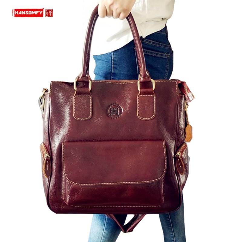Genuine Leather Women Handbag Business 14 Inch Laptop Briefcase Computer Shoulder Crossbody Bag Retro Large Capacity Travel Bags