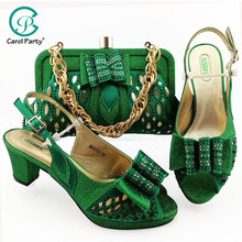Green Women Shoes and Bags To Match Set On Sale Nigerian Women Wedding Slippers with Rhinestone italian Design