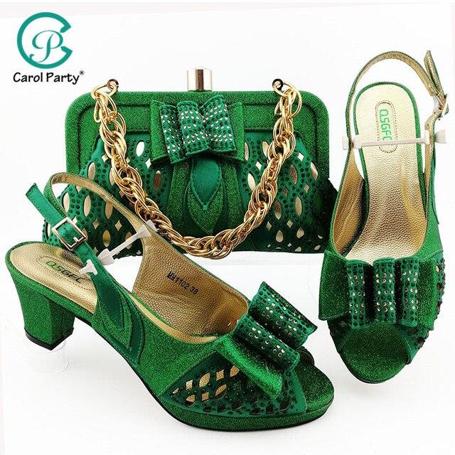 Groene Vrouwen Schoenen En Tassen Set Op Verkoop Nigeriaanse Vrouwen Bruiloft Slippers Met Rhinestone Italiaanse Ontwerp