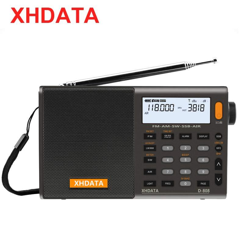 XHDATA D-808 Portable Digital Radio FM Stereo/SW/MW/LW SSB AIR RDS Multi Band Radio Speaker With LCD Display Alarm Clock  Radio